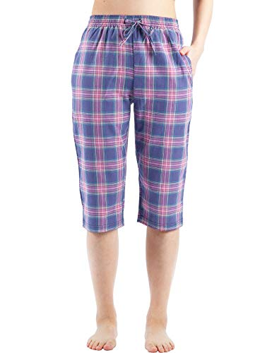 WEWINK CUKOO Cotton Women Pajama Capri Pants Plaid Lounge Pants with Pockets Sleepwear (L=US 12-14, Purple Plaid)