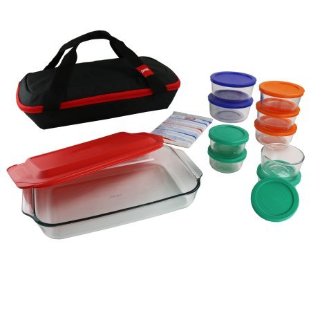 Pyrex Pyrex 22-Piece Portable Set, Bakeware, Storage, Green, Blue, Orange, Red by Pyrex Product