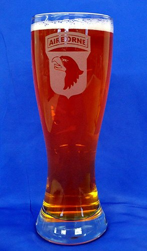 Custom Etched 101st Airborne Emblem on 23 Oz Pilsner Glass Set of 2 ()