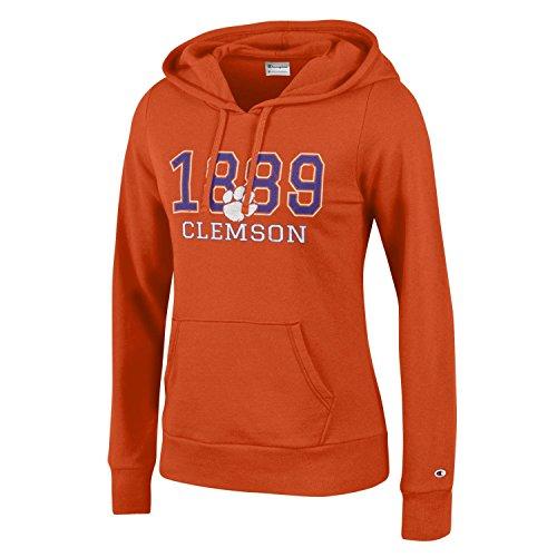 Champion NCAA Women's Comfy Fitted Sweatshirt University Fleece Hoodie Clemson Tigers Large