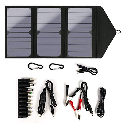 25W Solar Panel Charger, 2-Port USB Waterproof Foldable Convenient Portable Camping Charger with High Efficiency Solar Panel Cell Convenient Compatible for Outdoors Fishing Flashlight Camera