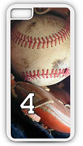 iPhone 6s Phone Case Baseball B108Z by TYD Designs in White Rubber Choose Your Own Or Player Jersey Number 4 ()