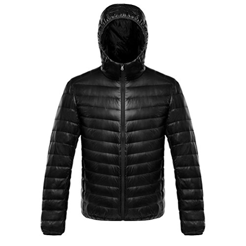 LvRao Jackets for Mens Quilted Padded Winter Coats Windproof Puffer Ultralight Outdoor Parka Black