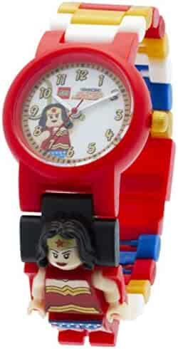 LEGO DC Comics Super Heroes Wonder Woman Minifigure Link Buildable Watch | red/yellow | plastic | 28mm case diameter | analog quartz | boy girl | official