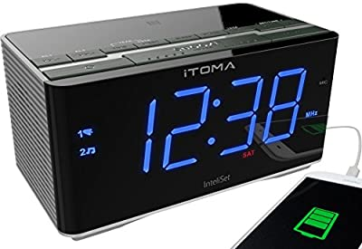 iTOMA Radio Alarm Clock, Bedside FM Radio, Bluetooth, Dual Alarm, USB Charging, Dimmer Control, Snooze, Sleep Timer, Auxiliary Input (CKS3501BT) by iTOMA