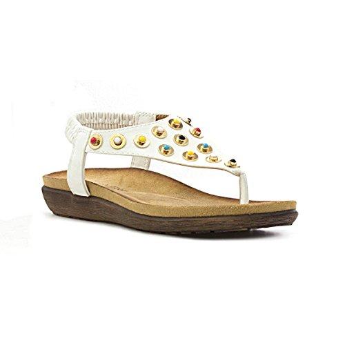 Heavenly Feet Womens White Toe Post Flat Sandal White