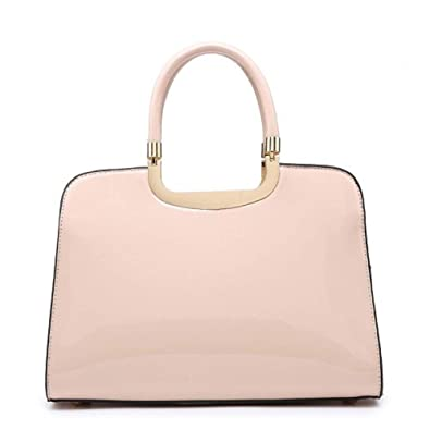 Ladies Structured Faux Patent Leather Handbag - Women s Shoulder Grab Bag  MA35066 (Nude) a62962354d7f0