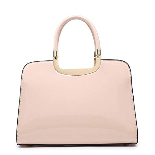 4f46b3a3f5 Ladies Structured Faux Patent Leather Handbag - Women s Shoulder Grab Bag  MA35066 (Nude)