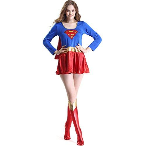 ThreeH Halloween Superwoman Costume Cosplay Prop Wonder Dress (FREE SIZE) C1007 (Superwoman Halloween Costumes)