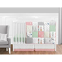 Coral, Mint and Grey Woodland Deer Girls Baby Bedding 11 Piece Crib Set Without Bumper
