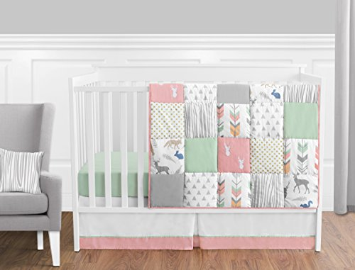 Sweet Jojo Designs 11-Piece Coral, Mint and Grey Woodsy Deer Girls Baby Bedding Crib Set Without Bumper (Mint Bedding And Coral Grey)