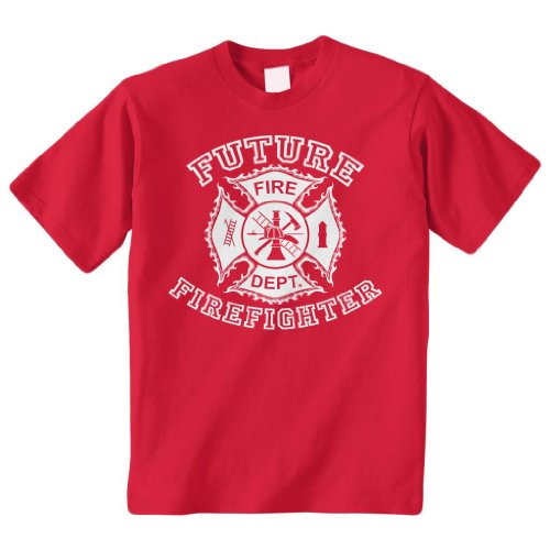 Threadrock Big Boys' Future Firefighter Youth T-Shirt S Red
