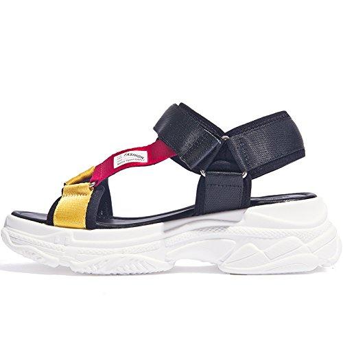 SOHOEOS Sandalias para Mujer Señoras College verano Nuevo estilo Vintage plana Velcro Zapato Abierto Damas,35EU,Negro Negro