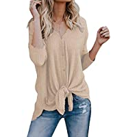 VYNCS Women's Casual Button Down Front Knot Knit Sweaters Shirts Henley Long Sleeve V Neck Tunic Blouse Tops