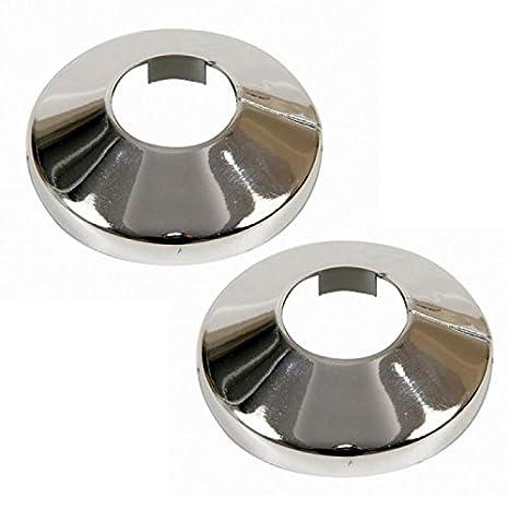 2 piezas de collar de cubierta de los tubos del radiador cromada pvc rosa 15mm: Amazon.es: Bricolaje y herramientas
