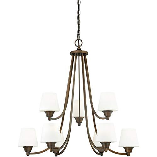 (Chandeliers 9 Light Fixtures with Venetian Bronze Finish Steel Material Medium 30