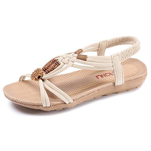 Etaclover Women's Open Toe Sandals Bohemian Beaded Slingback Woven Rope Beach Shoes (Beaded Beach Sandals)