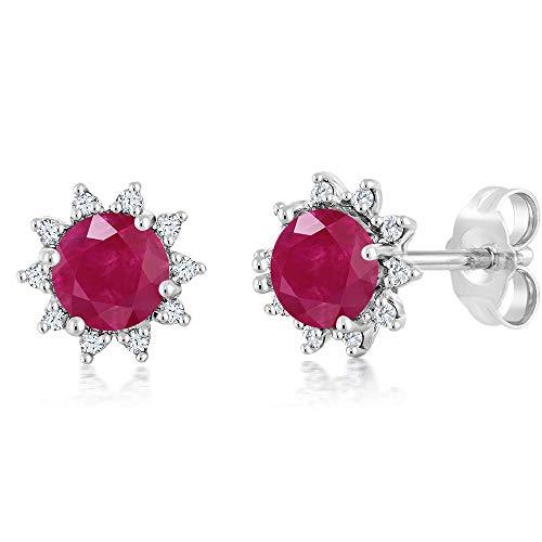 Gem Stone King 18K White Gold Diamond Stud Earrings Round 4mm Red Ruby 0.60 Ct (Ruby And Diamond Earrings 18k White Gold)