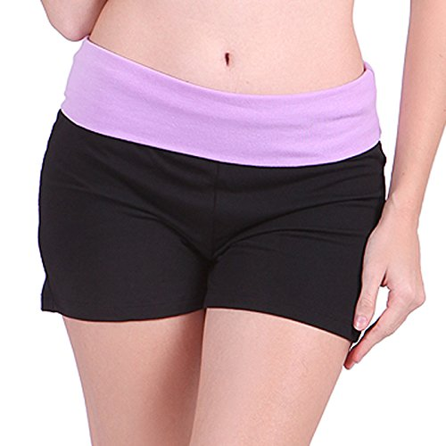 HDE Women's Yoga Workout Shorts Exercise Mini Hot Shorts (Black and Lavender, Small)