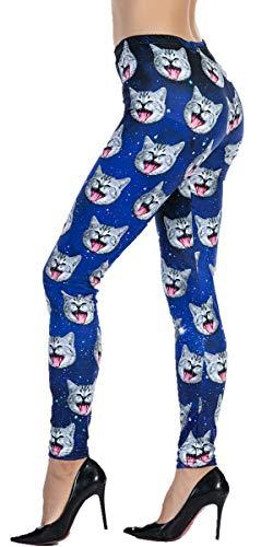 Ndoobiy Women's Printed Leggings Full-Length Plus Size Workout Legging Pants Soft Capri L1(Cat PS) -