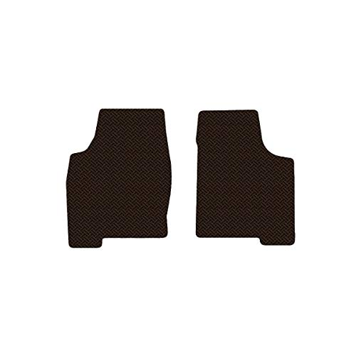 Brightt (MAT-LKN-963) 2 Pc Front Floor Mats - Brown All-Weather Rubber Weave Pattern - compatible for 1998-2004 Nissan Frontier King Cab (1998 1999 2000 2001 2002 2003 2004 | 98 99 00 01 02 03 04) ()