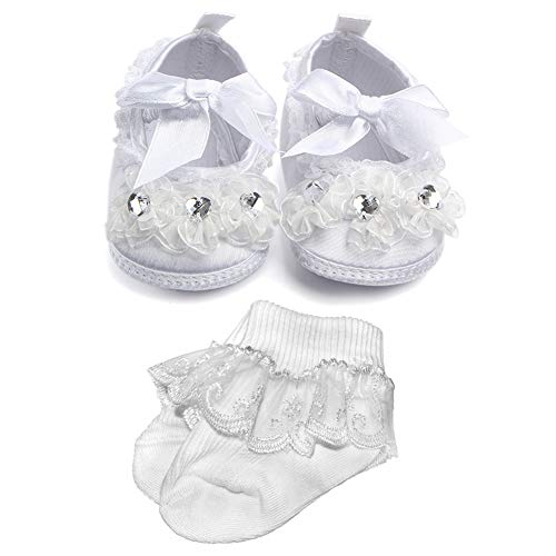 NewJourney Baby Boys Girls Christening Baptism Shoes Cross Lace-up Princess Sneakers (Shoes&Socks,6-9 Months)