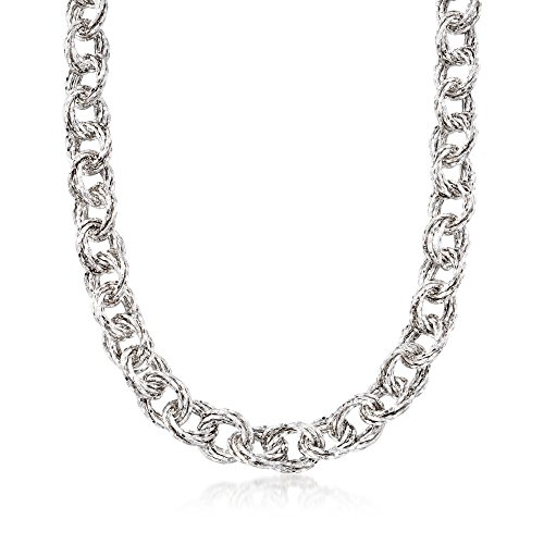 Silver Textured Multi-Circle Link Necklace ()