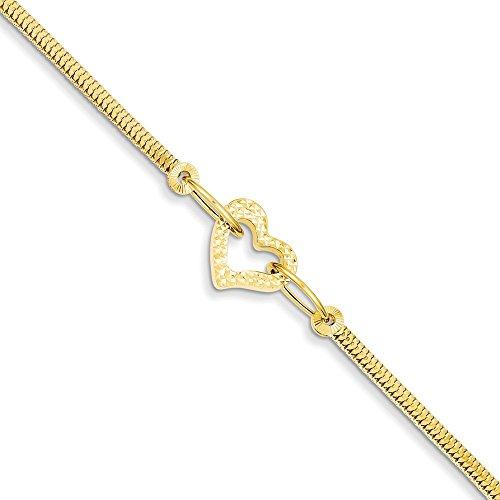 14 carats avec diamant fantaisie Franco découpe cœur ouvert JewelryWeb-Bracelet