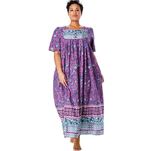 Only Necessities Women's Plus Size Mixed Print Long Lounger - Radiant Orchid Multi, 6X ()