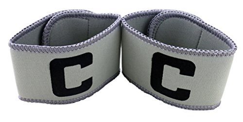 MAYFOO Football Soccer Captains Armband - Captain Arm Bands for Youth and Adult,Anti-drop Design ,2-Pack (Gray)