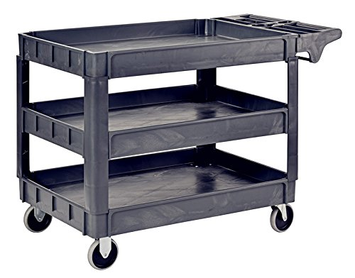 "Pake Handling Tools Heavy Duty Utility Cart - Plastic 3 Shelves Rolling Cart with Wheels- 550lbs Capacity, 37.4"" x 25.6"""