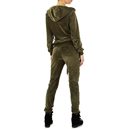 Samt Zweiteiler Anzug Für Damen , Grün In Gr. S bei Ital-Design