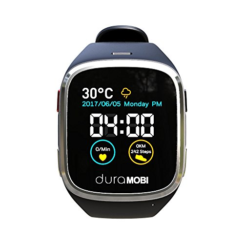 1.54'' Water Resistant Smart Watch Sync with Andorid & IOS ECG watch Dynamic heart rate & Blood pressure monitor Pedometer & Fitness Tracker Sleep monitor 2G talk watch by duraMOBI