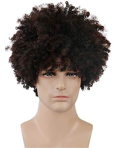 TopWigy Men Wigs Short Kinky Curly Cosplay Wigs Mix Brown Natural Looking Synthetic Hair Replacement Anime Costume Wigs (Brown Mixed Black Color)