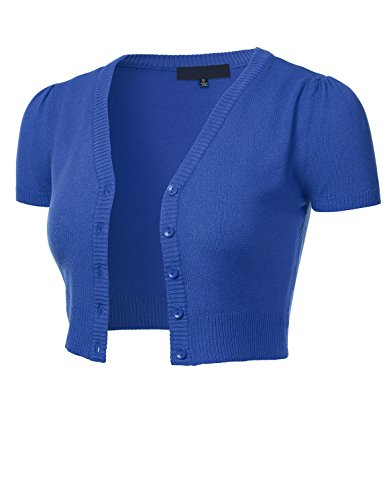 FLORIA Womens Button Down Short Sleeve Cropped Bolero Cardigan Sweater Viola S -