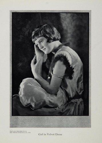 Engraving Reproduction Poster (1929 Young Girl Velvet Dress Portrait Black/White Print - Original Halftone Print)