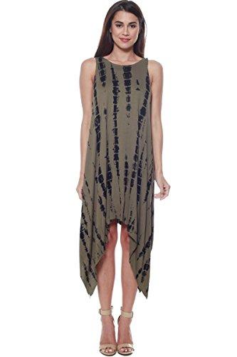 Bamboo Tie Dye - Gemomine Asymmetric Bamboo Tie-Dye Dress (Olive, Medium)