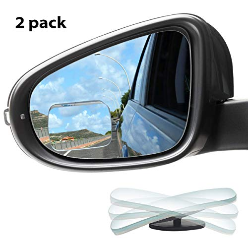 KMMIN Blind Spot Mirror, Square Convex Car Mirror Blind Spot for Universal Vehicles HD Frameless Blind Spot Mirrors 360° Rotatable for Car Great Rear View (2Pack)