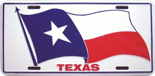 Car Auto Tag (Texas State Flag Embossed Metal License Plate Auto Car)