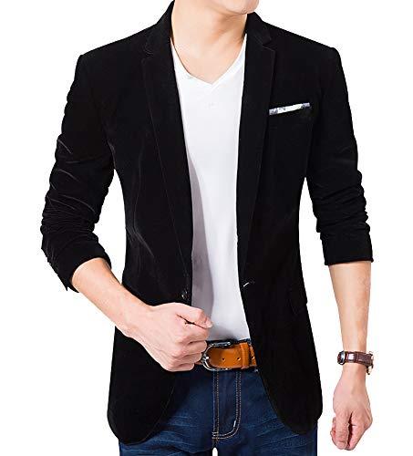(Men's Blazer Jacket Corduroy Sport Coat Smart Formal Dinner Cotton Jacket Slim Fit Two Button Notch Lapel Coat)