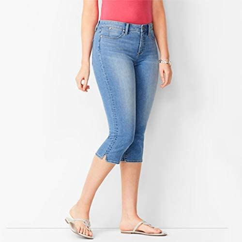 Slim Denim Cropped Trousers Jeans ESAILQ Women Hight Waisted Denim Jeans Stretch Slim Pants Calf Length Jeans