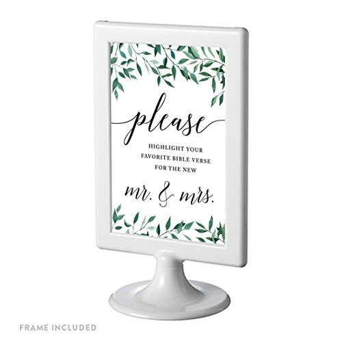Andaz Press Framed Wedding Party Signs, Natural Greenery Green Leaves, 4x6-inch, Please Highlight Your Favorite Bible Verse for The New Mr. & Mrs, 1-Pack, Includes Reusable Photo Frame (Bible Verse Favorite)