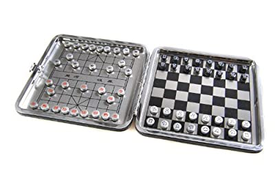 """Azerus Alu Line: aluminium leather box """"2-in-1 game set B"""": Chess, Xiangqi - with magnetic game pieces, playing board 4.53"""" x 4.53"""" x 0.28"""" (XY009P2N US)"""