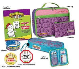 The Food Allergy Survival Kit Pink/Purple Large Includes Pink Lunch Bag, Pink Small Snack Bag, Blue/Pink Pattern Epi-Pen Case, I Have Allergies Stickers, Don't Eat Me Food Label, I Have Allergies Writable Wristband & Activity & Coloring Booklet