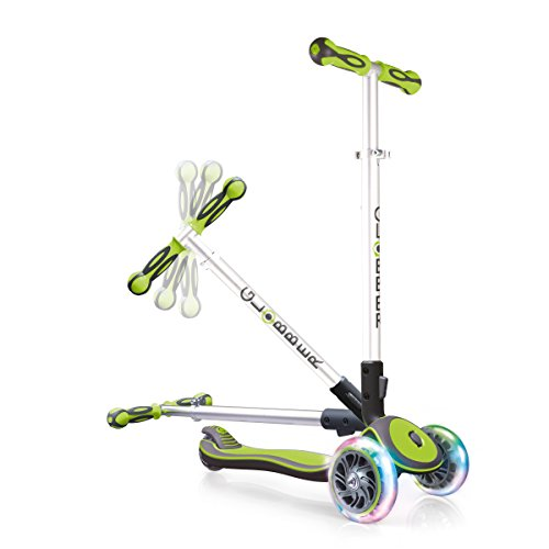 Globber Elite 3 Wheel Folding Adjustable Height Scooter with Optional LED Lights (Green LED Wheels)