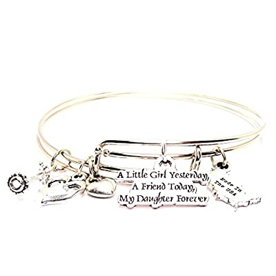 A Little Girl Yesterday, a Friend Today, My Daughter Forever Adjustable Wire Bangle Charm Bracelet