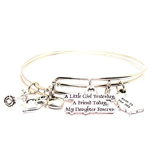 A Little Girl Yesterday, a Friend Today, My Daughter Forever Adjustable Wire Bangle Charm Bracelet Design Childrens Bangle