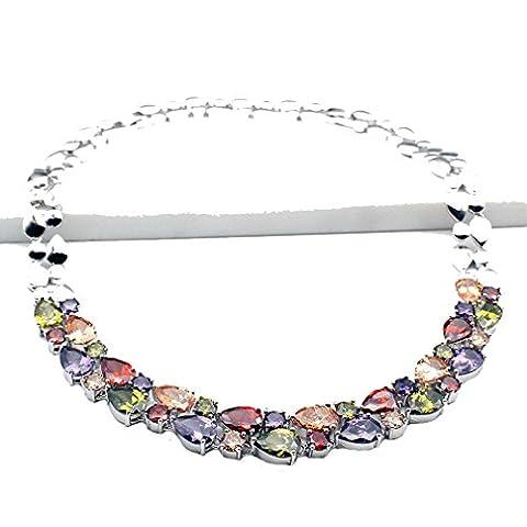 HERMOSA Multi Gemstones Sets 925 Sterling Silver Peridot Amethyst Garnet Morganite (Necklace) (Amethyst Stone Jewelry)