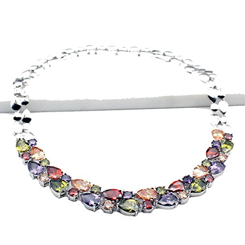 - Mother's Day Necklace Classic Multi Gemstones Silver Sets, Amethyst Garnet Morganite Peridot