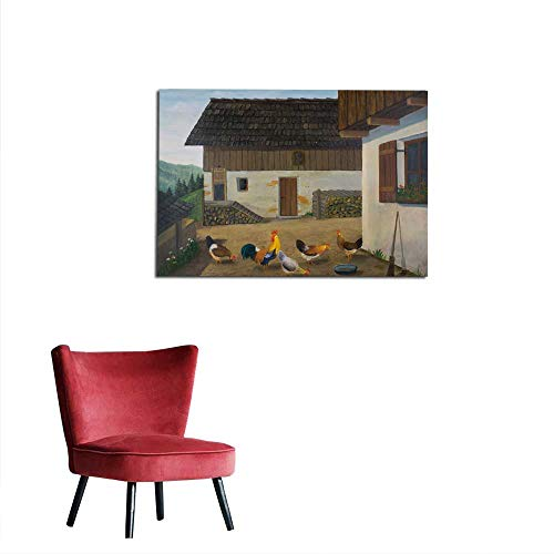 (homehot Corridor/Indoor/Living Room Several Chickens in The Garden on a Farm Mural 48